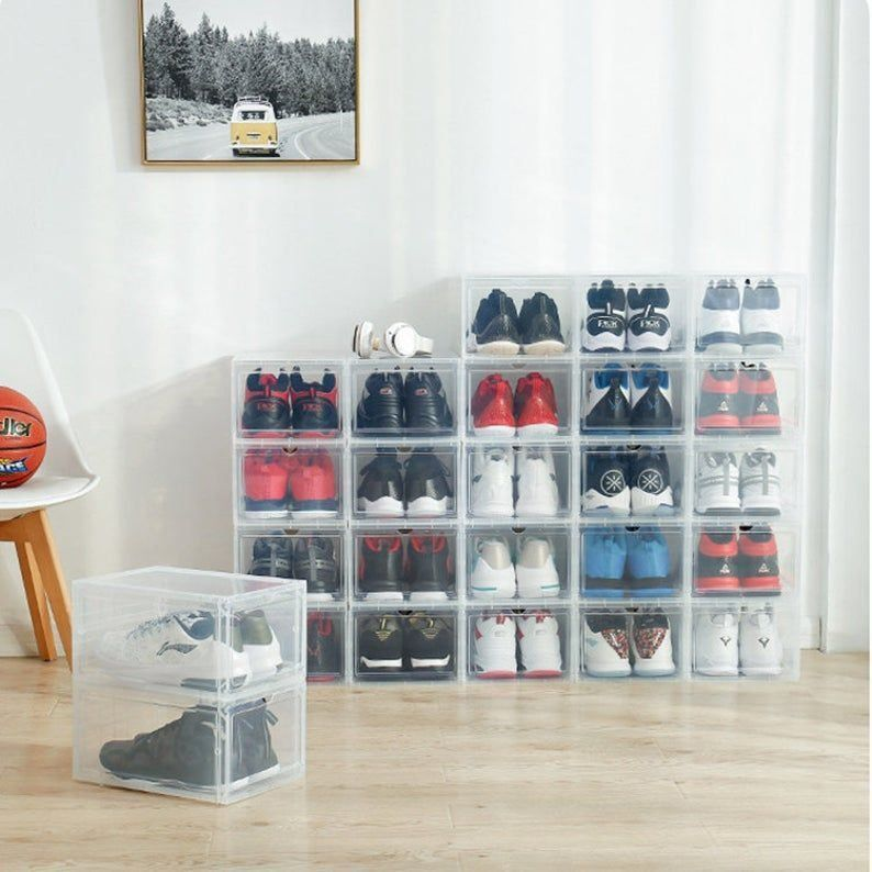 Akakaus Storage Shoes Box Womens Mens Shoe Storage Box Plastic Foldable Stackable Shoe Container Cle In 2020 Bench With Shoe Storage Shoe Box Storage Shoe Containers
