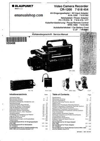 Blaupunkt video camera recorder cr1200 service manual complete blaupunkt video camera recorder cr1200 service manual complete service repair manual and its in pdf format it contains circuit diagrams schemas etc ccuart Image collections