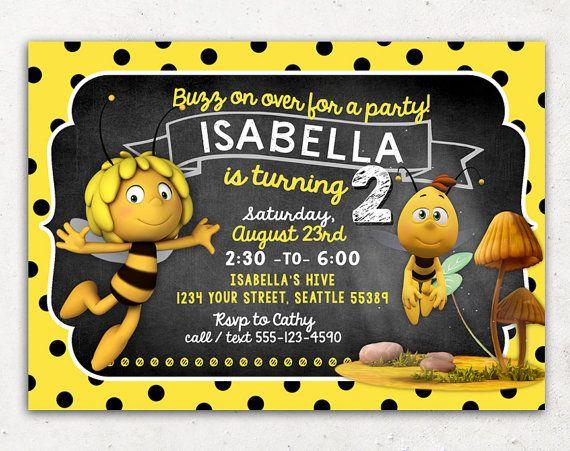 Maya The Bee Invitation For Birthday Party Diy By Inkchanting