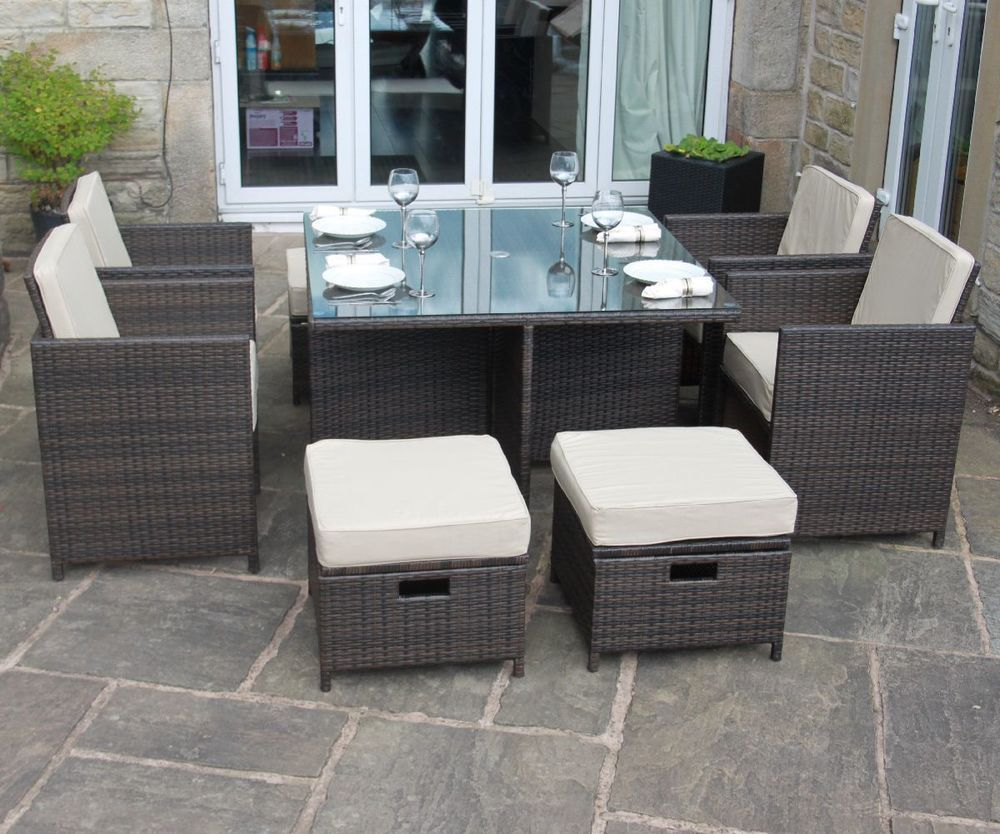 Rattan Garden Furniture Cube Dining Set Exclusive 9 Piece Set