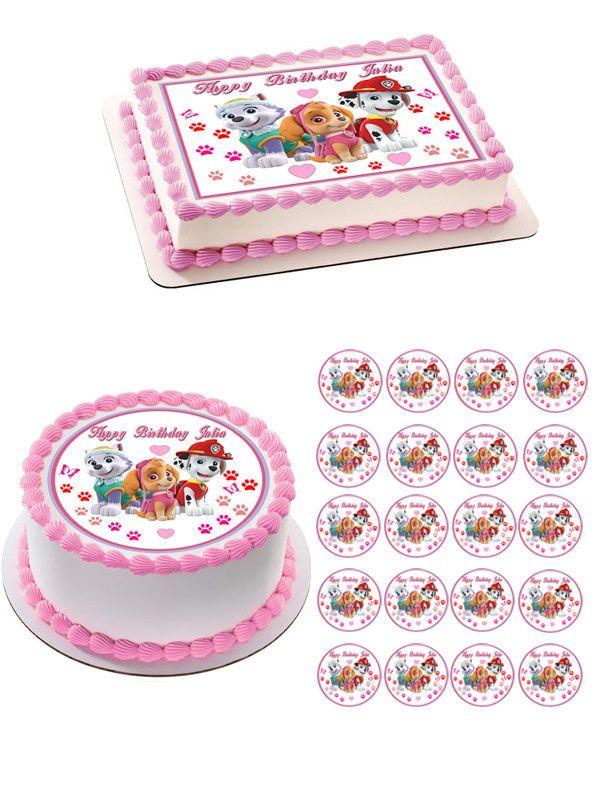 Paw Patrol Girls Edible Birthday Cake Topper OR Cupcake Decor