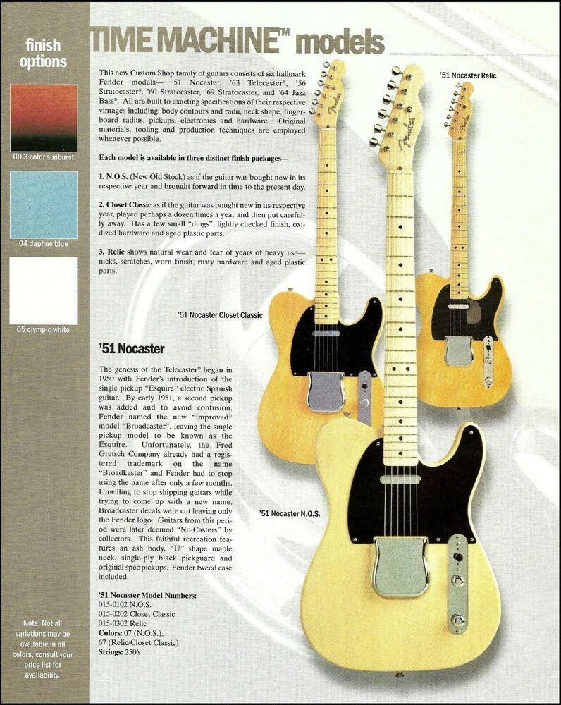 Fender Time Machine Series 51 Nocaster Relic N O S Telecaster Guitar Ad Print Fender Guitar Fender Guitar Amps Fender Guitars