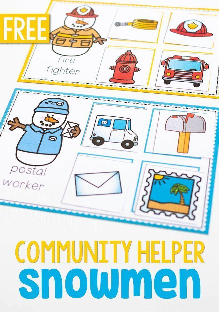Snowmen on the job! Community helpers preschool
