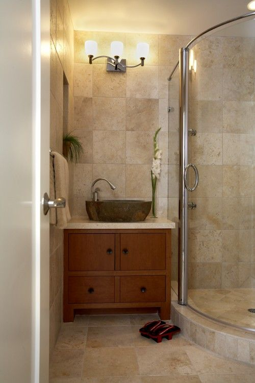 Nice tile and great sink. Like the curved shower. By Mahoney ...