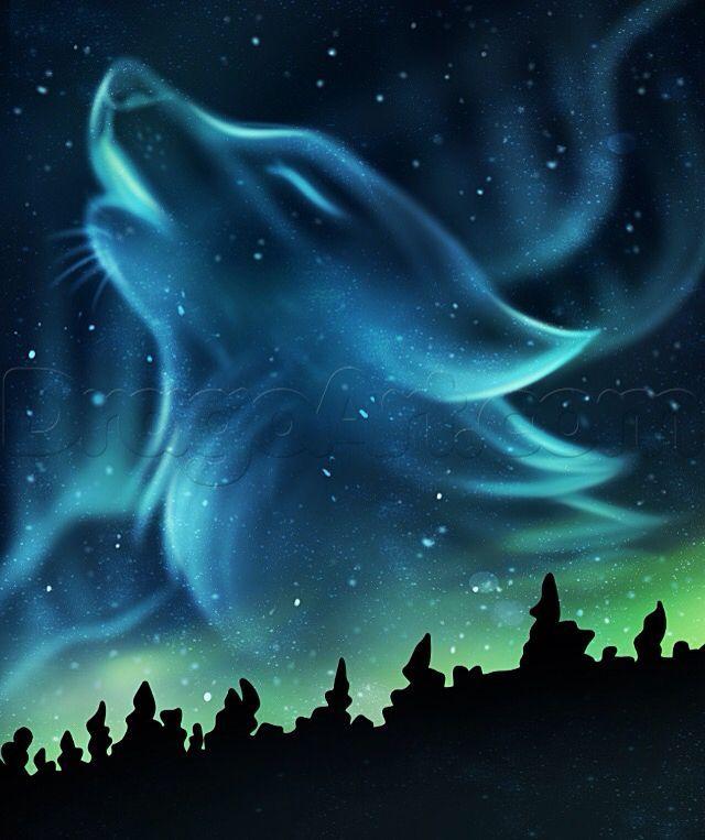 Aurora Borealis howling wolf spirit - #Aurora #auroraborealis #Borealis #howling #spirit #Wolf