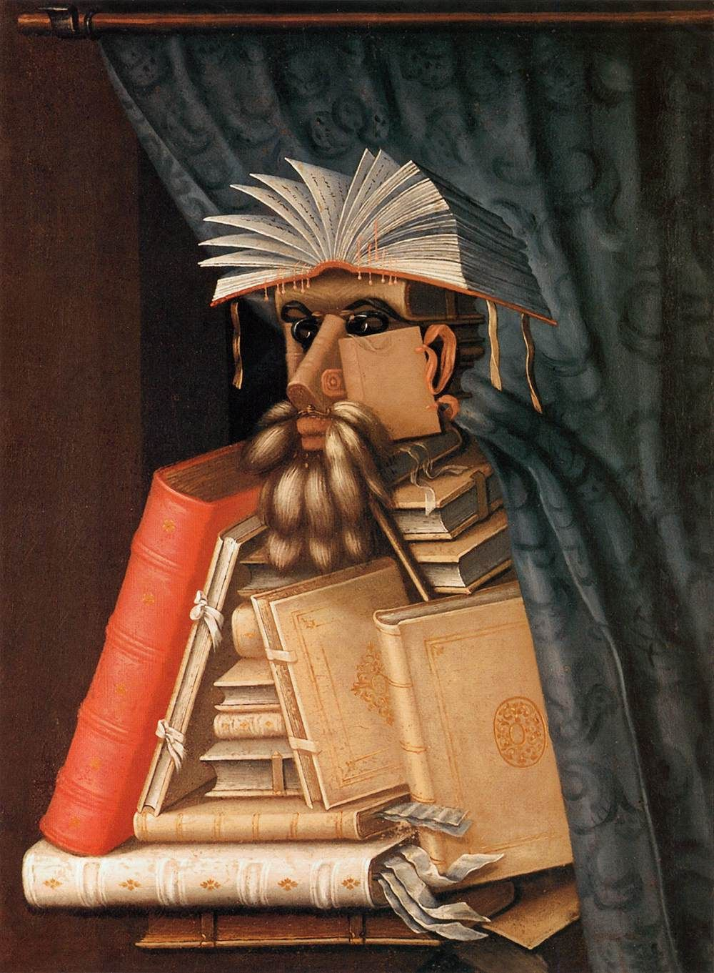 Giuseppe Arcimboldo pioneered a unique style of portraiture, creating faces out of objects like The Librarian (1566)