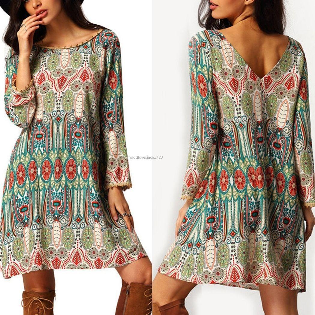 Women hippie casual loose floral boho gypsy beach dress bohemian