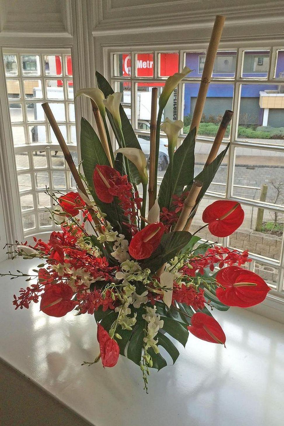 Fantastic Ideas For Red Floral Arrangement 50 Funeral Flower Arrangements Church Flower Arrangements Red Flower Arrangements