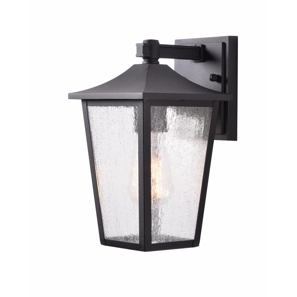 Home Decorators Collection 1 Light Black Aluminum Outdoor Wall