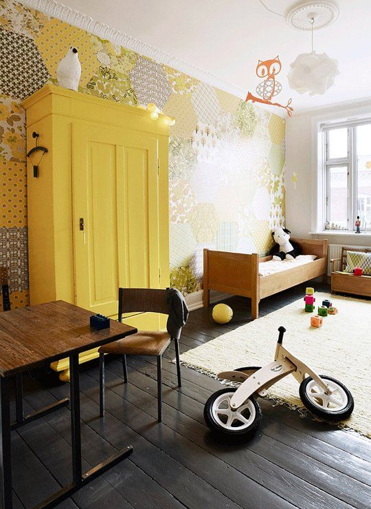 Custom for Kids DIY Patchwork Wallpaper - Eclectic kids room, Kids room inspiration, Room, Kid room decor, Kids room design, Yellow living room - Having a statement or accent wall in a kids' room is a great way to customize a room's decor  You can paint a bright wall, add a mural, or use wallpaper  But we love this unique idea for using complementary wallpapers to create a patchwork wall  Dutch site 101 Woonideeen posted this idea for a retro, patchwork wallpaper wall  They provide the instructions and a template if you want to use the honeycomb pattern