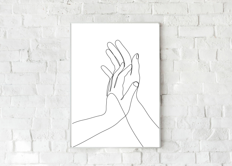Hands One Line Drawing Printable Wall Art Minimalist Hands Etsy In 2021 Minimalist Wall Art Line Drawing Line Art Drawings