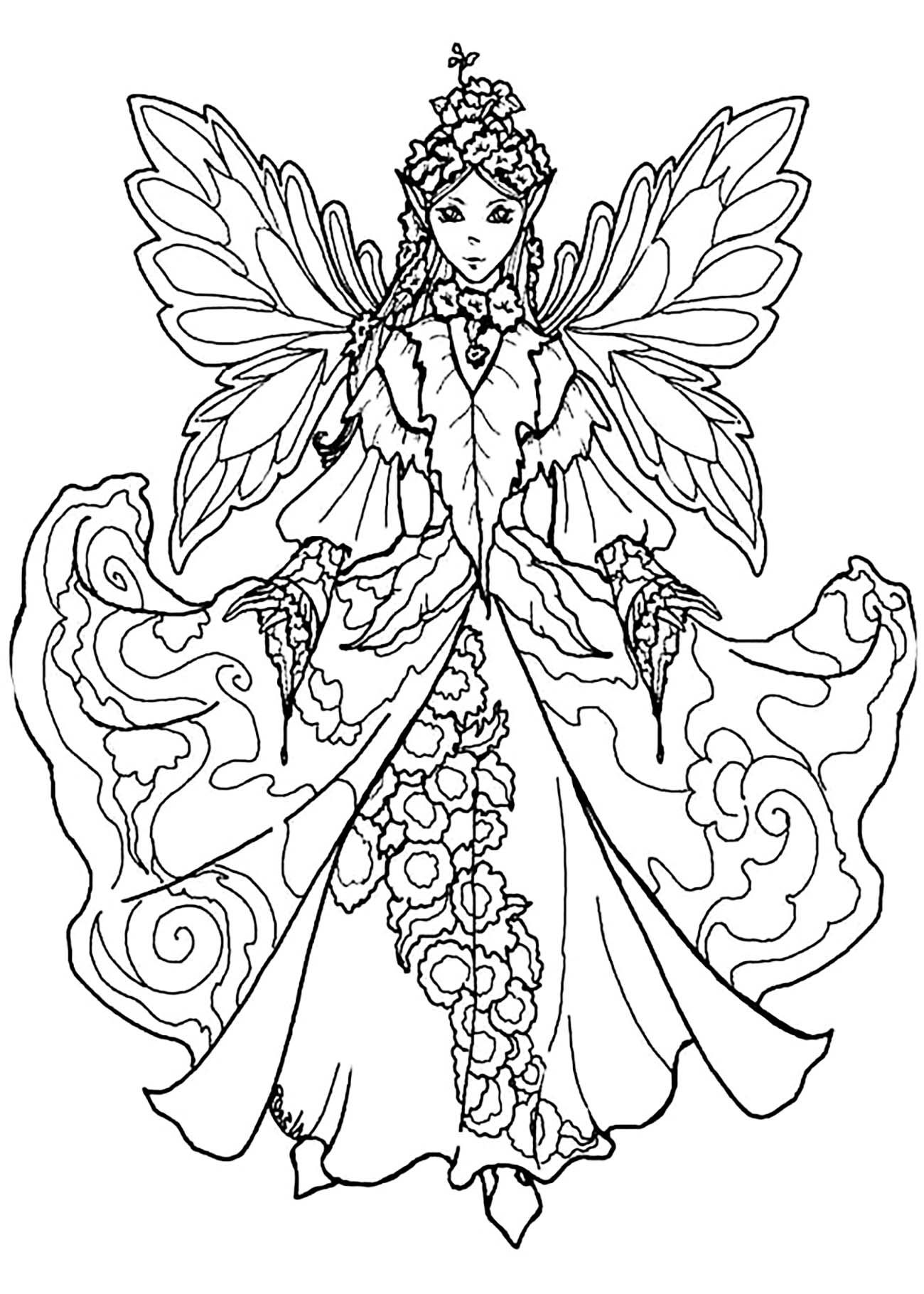 Fairy Coloring Pages For Adults Best Coloring Pages For Kids Fairy Coloring Fairy Coloring Pages Coloring Pages