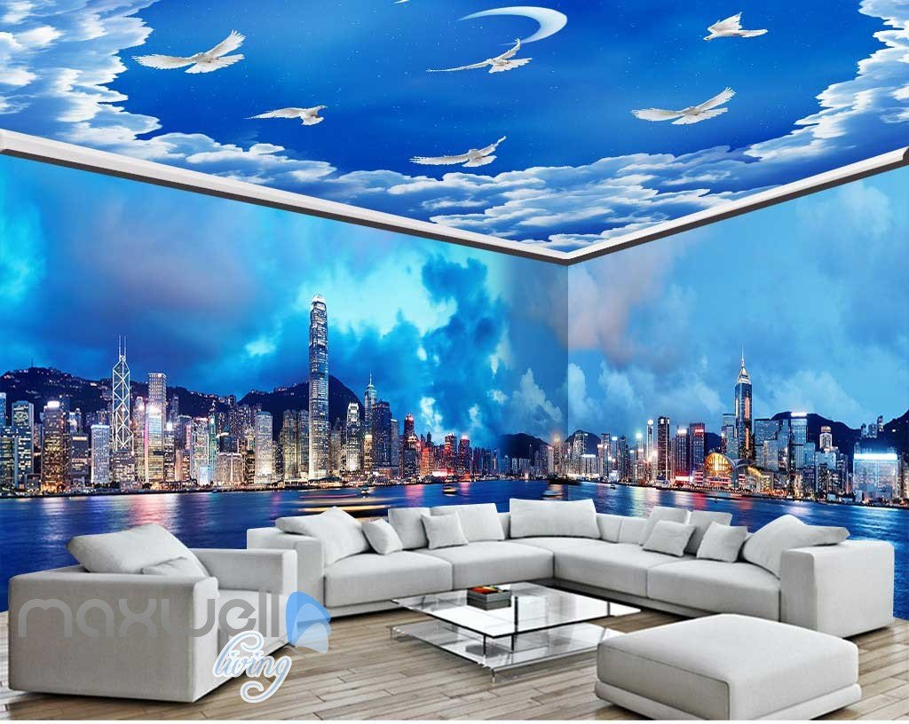 3D Modern City Cloud Sky Wall Murals Wallpaper Decals Art ...