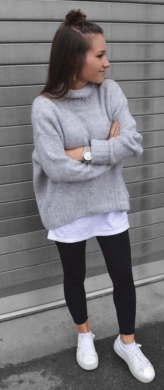 Photo of enkel antrekk ide: grå genser + hvit topp + skinnies + joggesko #topfalloutf …