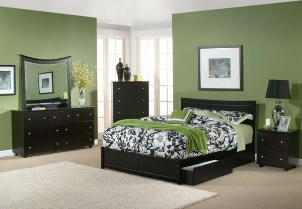 Green Bedroom With Comfortable Bed