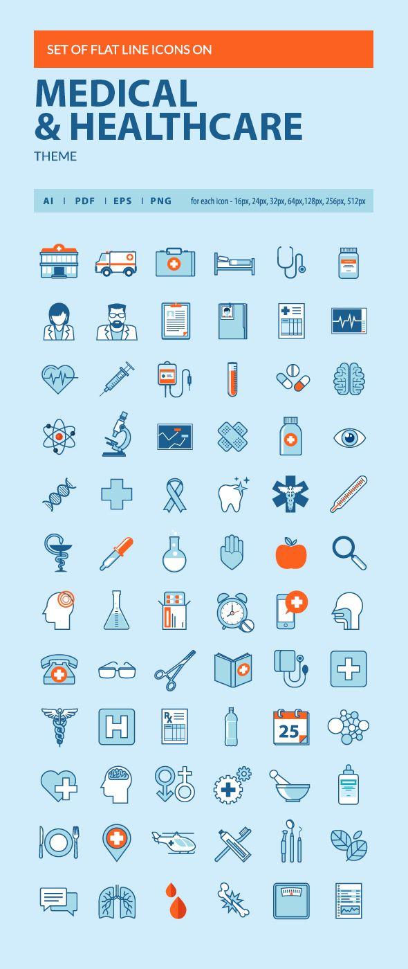 Set Of Flat Line Icons On Behance Medical Icon Line Icon Hospital Icon