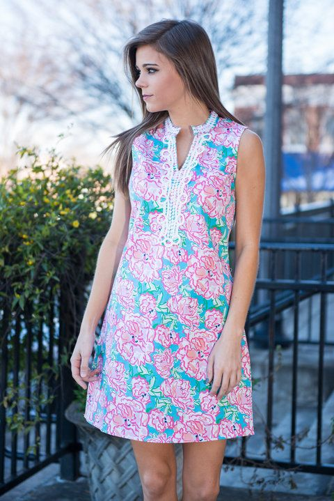 The Blakely Dress, Pink || Preppy and classy meet to make one adorable dress! We are OBSESSED with this dress! The abstract floral print and the colors a perfection! Plus, you have to love that crochet neckline!