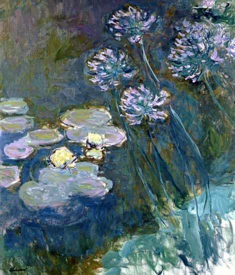 Claude Monet - Water Lilies Giverny #5 ( and Agapanthus)