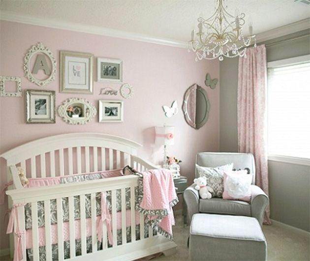 Habitacion de bebe rosa y gris beb pinterest gris - Pintura habitacion bebe nina ...