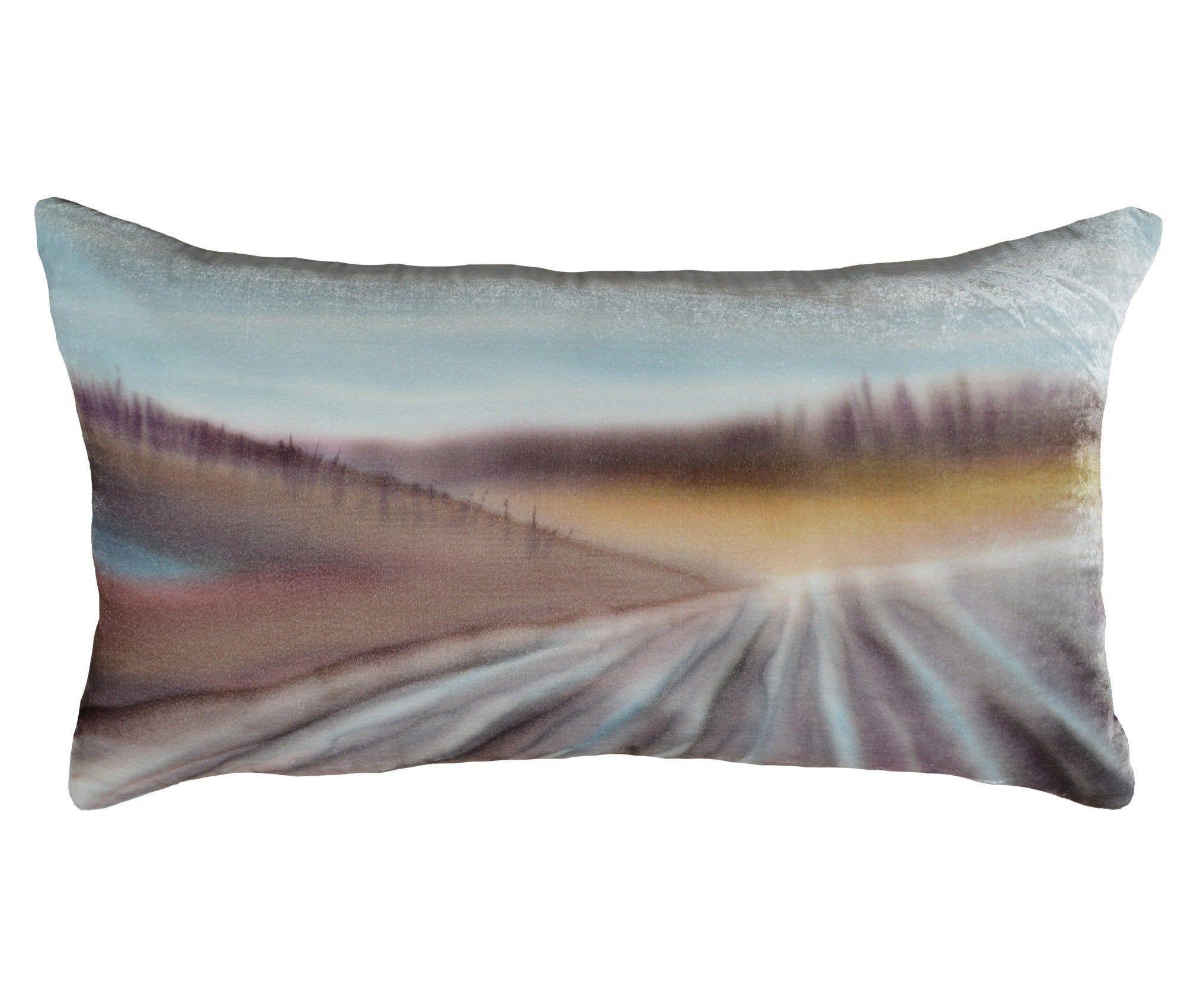 Velvet Linen 16x28 Decorative Pillow Cover Hand Painted Silk Velvet Landscape Art Lumbar Pillow For Sofa Luxury Handmade By Fabric17 Decorative Pillow Covers Decorative Pillows Silk Painting