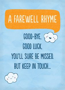 Farewell Rhyme With Images Farewell Cards Farewell Quotes