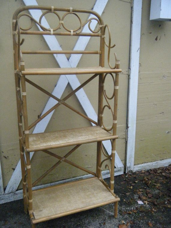 Vintage 3 Tier Bent Bamboo Cane Rattan Bakers Rack By Revosretro