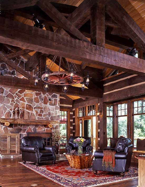 An East Texas Lakefront Log Home Logs, Room and Cabin