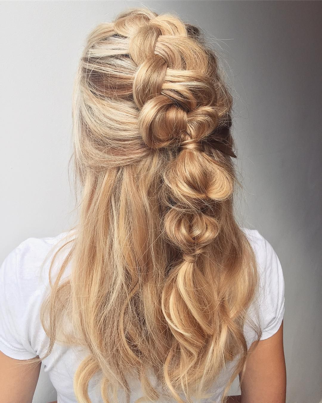 Bubble Braided Half Up Half Down Hairstyle Inspiration Easy Hairstyles For Long Hair Down Hairstyles Half Up Half Down Hair