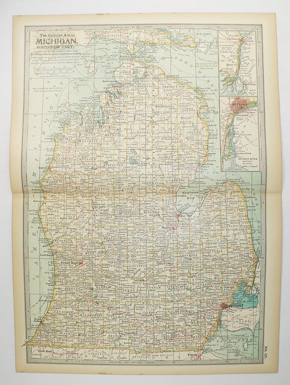 Antique map of michigan 1899 century map southern michigan state antique map of michigan 1899 century map southern michigan state map vintage home decor publicscrutiny Image collections