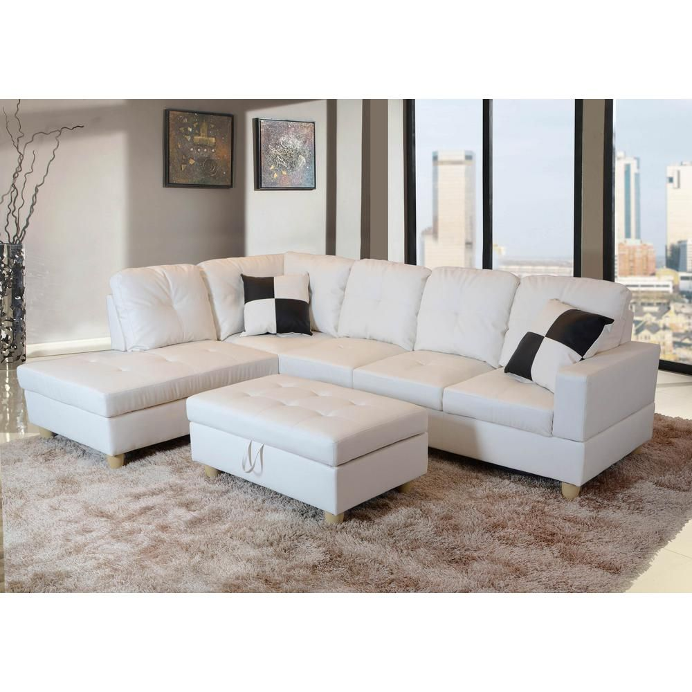 White Left Chaise Sectional With Storage Ottoman Sh092a In