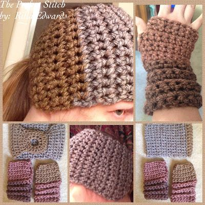 Ginger Spice Ponytail Ear Warmer & Fingerless Gloves... | Crochet ...