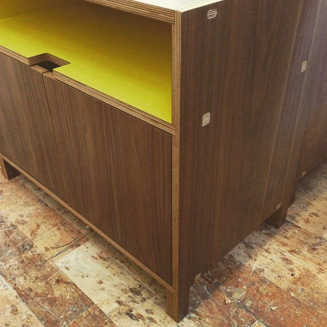 Close Up Of A Walnut Europly Nightstand With Custom Yellow Laminate. We Are  Just Bananas