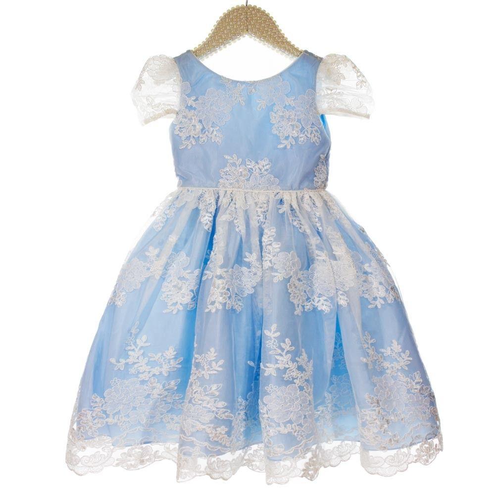 Vestido azul de festa infantil