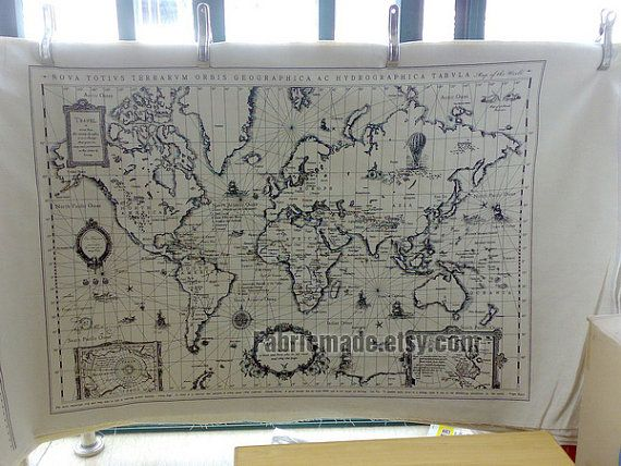 Off white cotton linen fabric vintage world map fabric curtain off white cotton linen fabric vintage world map fabric curtain quilting bags fabric one pattern gumiabroncs Images