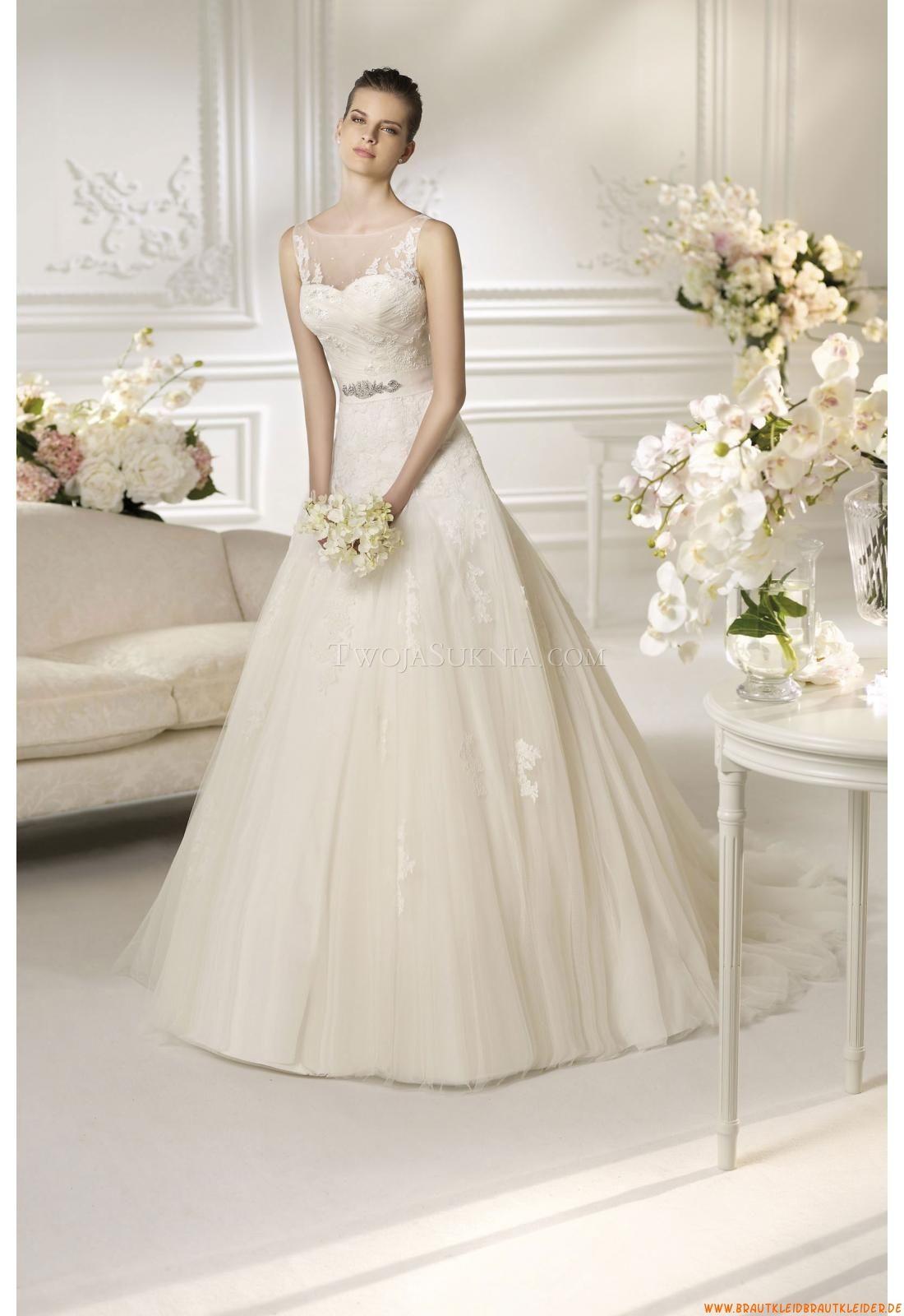 Schlichte Preiswerte Brautkleider auzs Softnetz mit Perlenstickerei