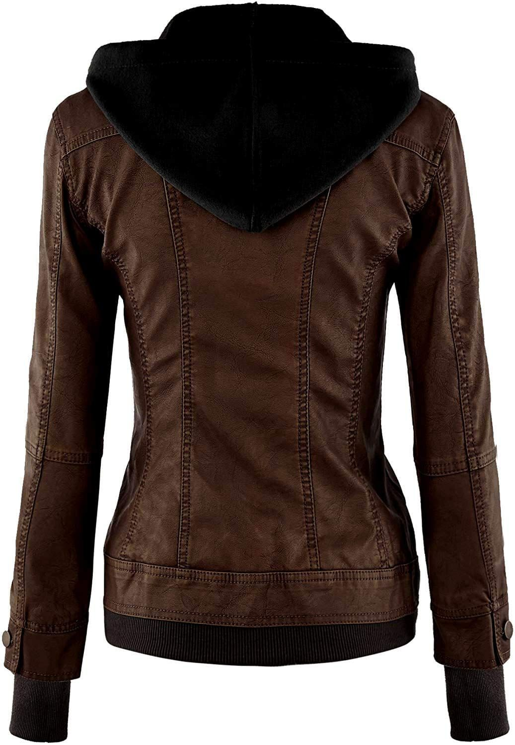 Vearfit Women S Sparteens Real Leather Jacket Bomber Removable Hood For Women Affiliate Faux Leather Jacket Women Real Leather Jacket Womens Faux Leather [ 1500 x 1037 Pixel ]