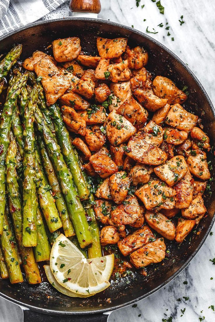 Garlic Butter Chicken Bites and Lemon Asparagus    Garlic Butter Chicken Bites and Lemon Asparagus   So much flavor