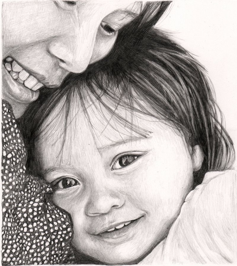 Pencil drawing of mother and daughter by sharon hall of faceart portraits
