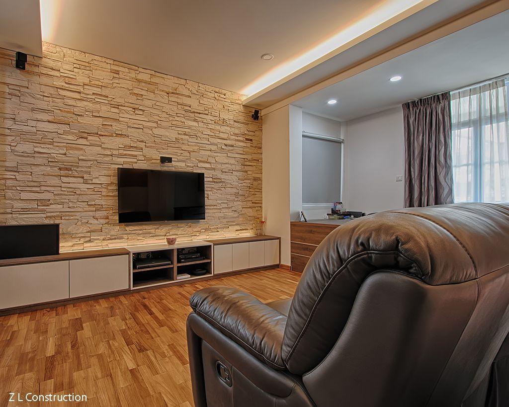 Z L Construction Singapore Tv Mounted On A Craftstone Brick Wall Of Ledgestone Series