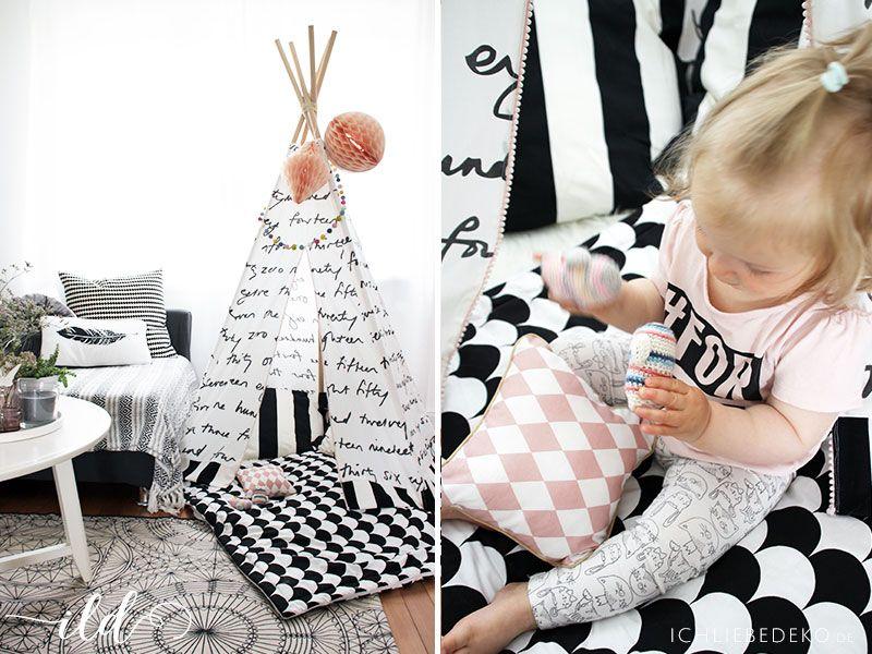 wohnen mit kindern ein diy tipi als spielecke im wohnzimmer teepee pinterest tipi. Black Bedroom Furniture Sets. Home Design Ideas