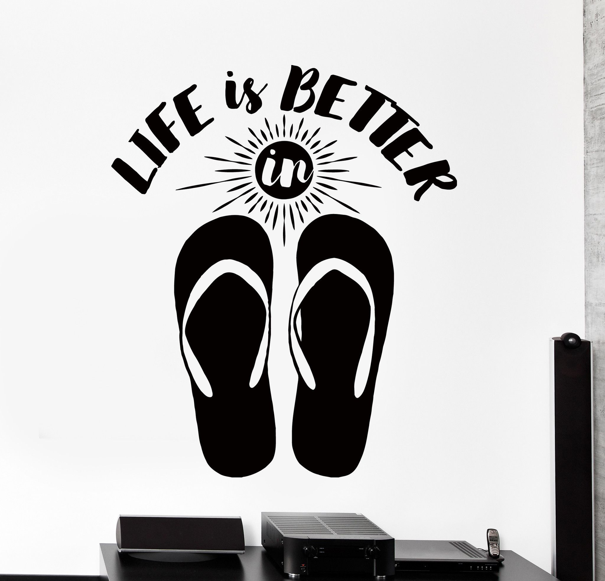 Wall Vinyl Decal Funny Beach Vacation Quote Life Is Better