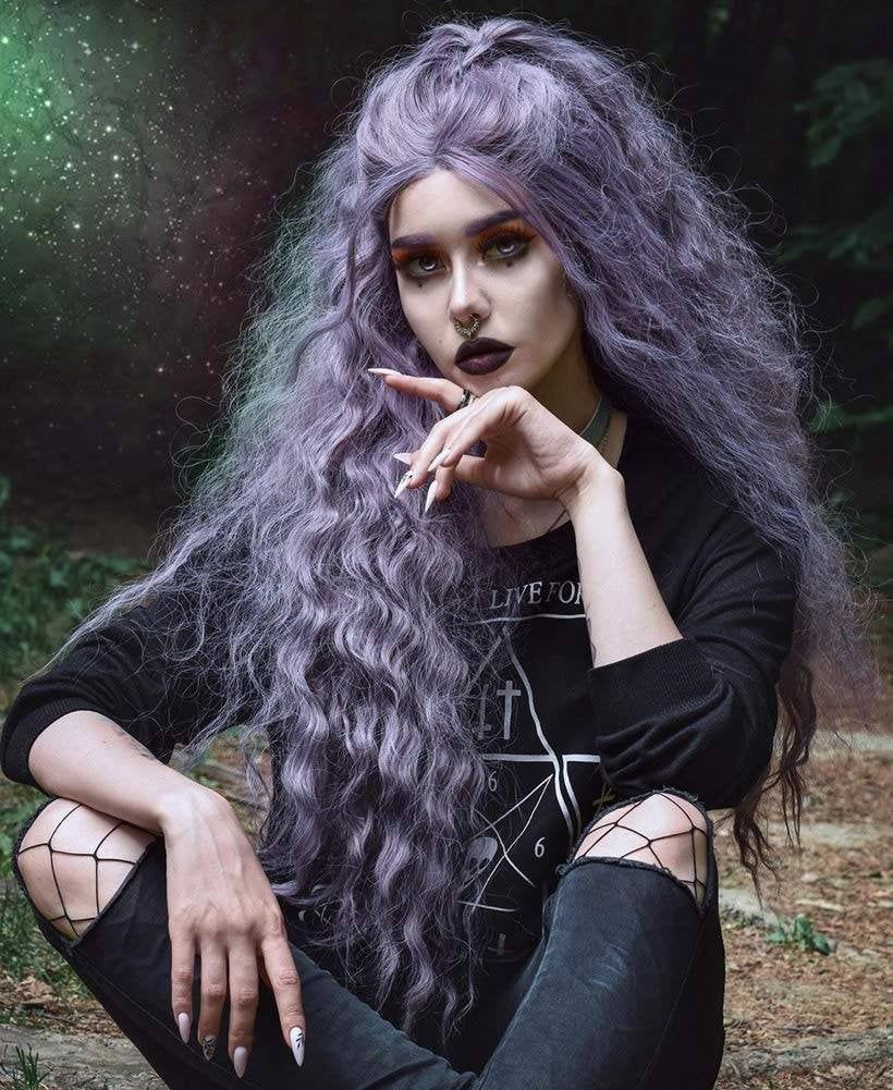 Lilac//Light Purple//Curly//Wavy// Lace Front Wig//Wig//Human Hair//Synthetic Hair