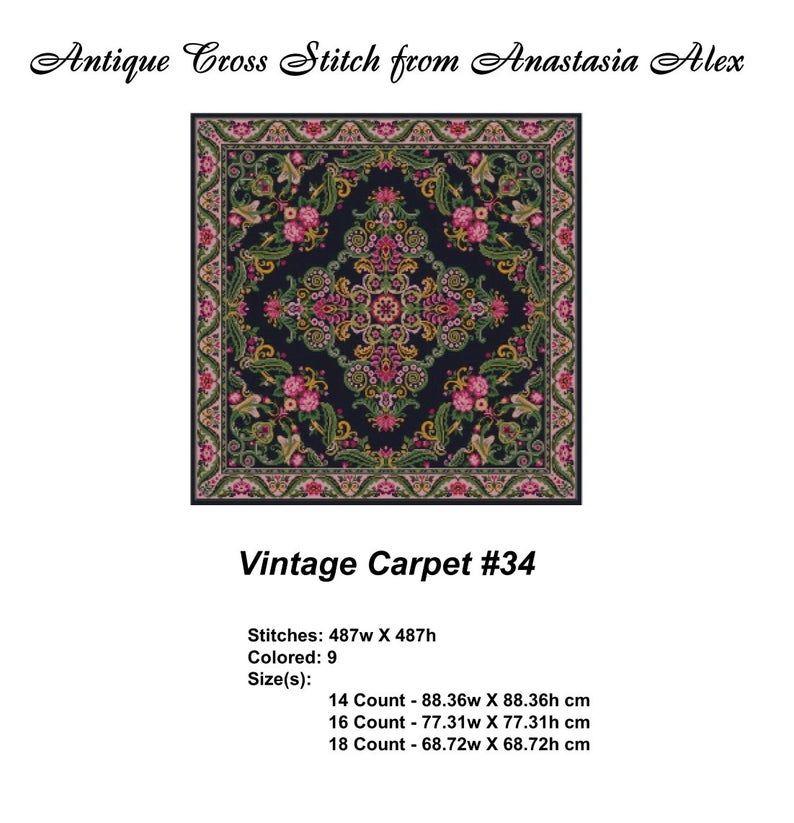 Large Vintage Carpet #34 Cross Stitch Pattern PDF Tablecloth Flowers. Pillow embroidery. Antique Dollhouse Miniature Rug