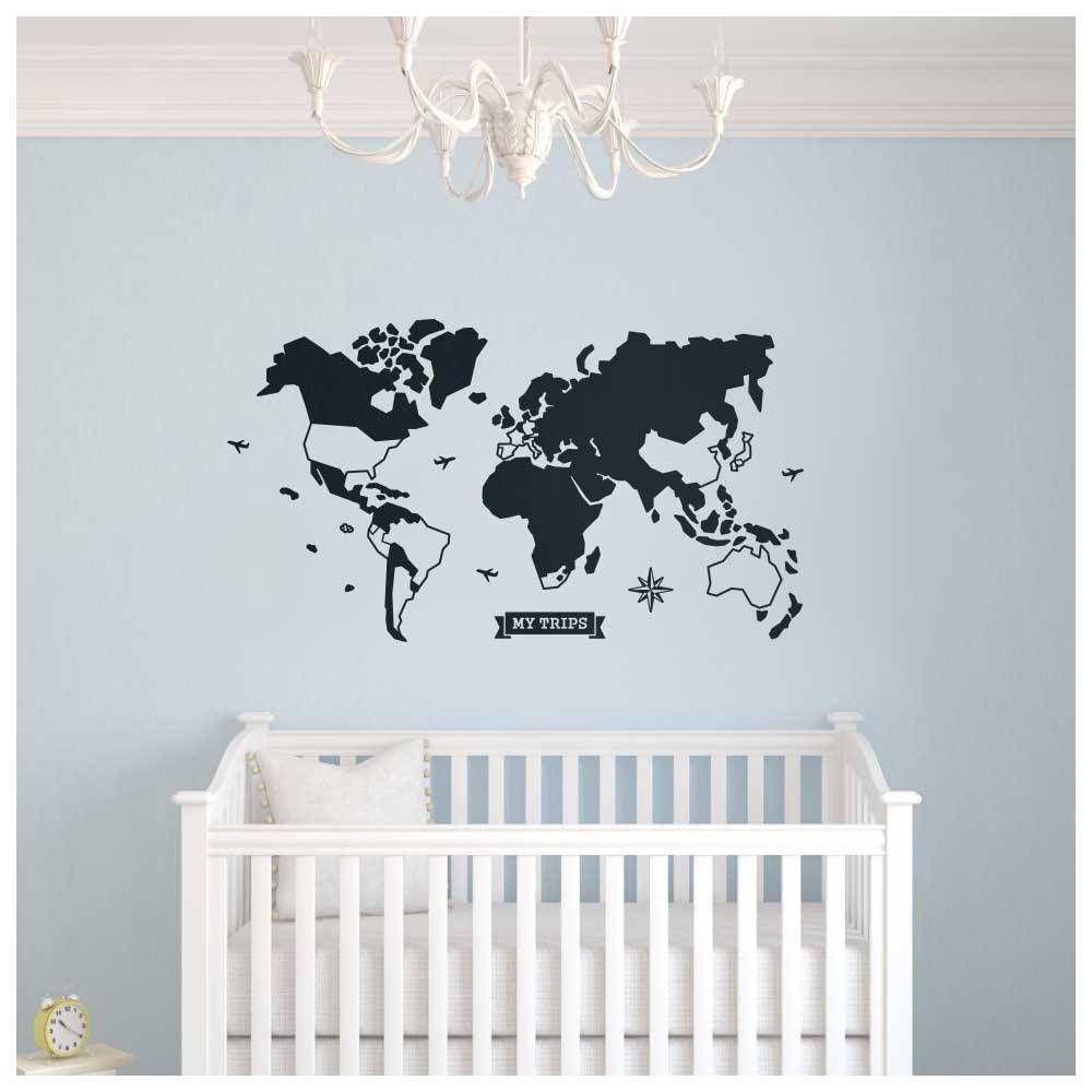 Decorando O Quarto Do Beb Com Mapa M Ndi Adesivo De Parede Com  ~ Decorando A Parede Do Quarto E Tema De Quarto De Menino
