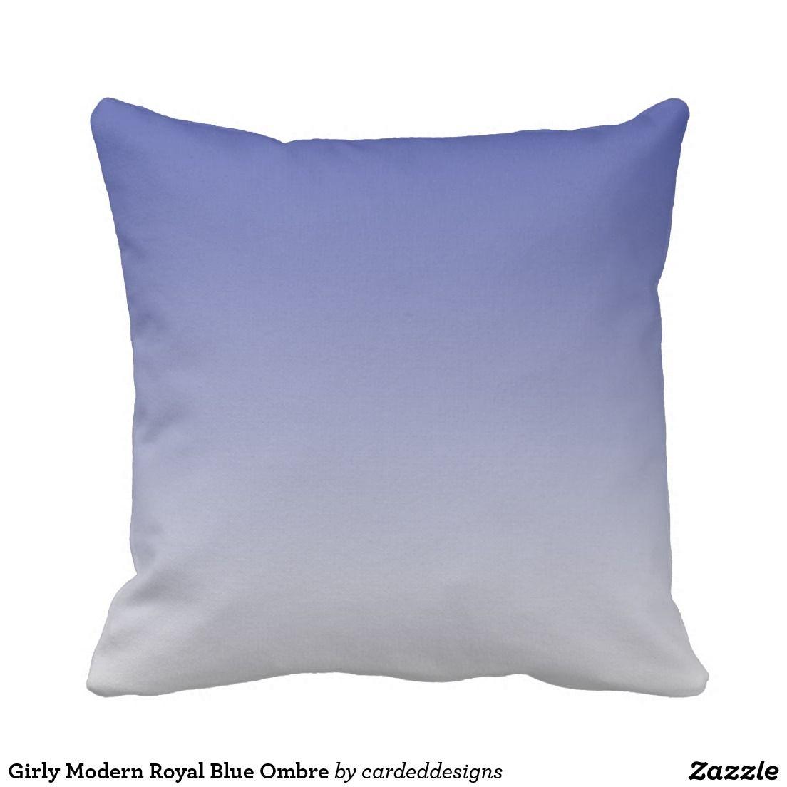 Girly Modern Royal Blue Ombre Outdoor Pillow Outdoor Pillows