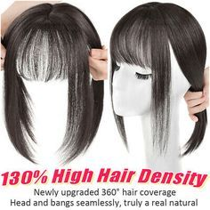 THICK Women 100 Remy Human Hair Topper Silk Mono Toupee Clip In Hairpiece Bangs    eBay Gallery