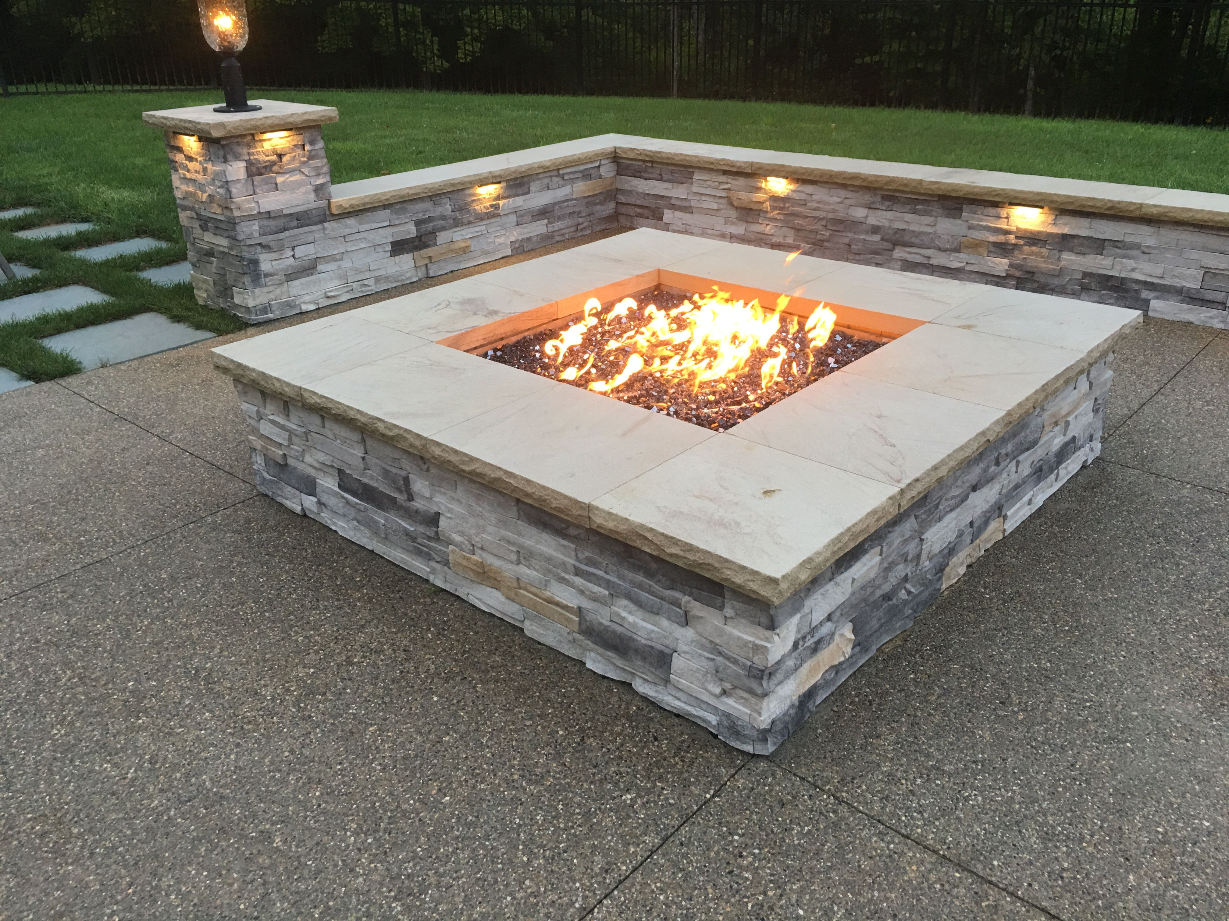 Custom gas fire pit to warm the chill by your pool ...