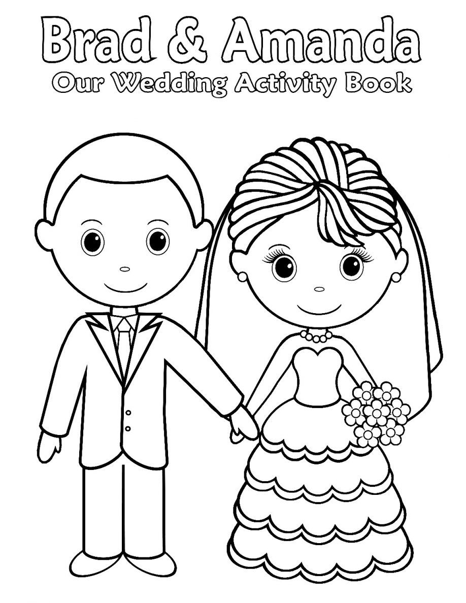 printable personalized wedding coloring activity by sugarpiestudio - Personalized Wedding Coloring Book