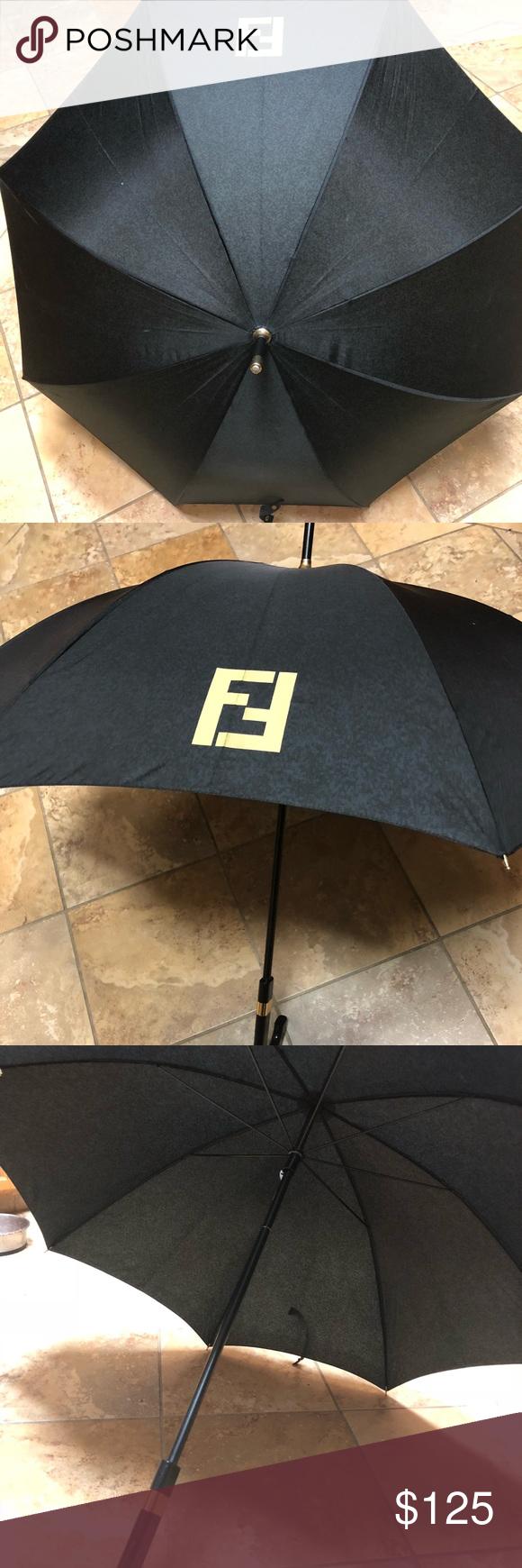 Vintage Authentic Fendi Umbrella This Item Was Offered In The Early 90s And Is Vintage Fendi Black Wood Handle Umbrella Good Used Cond Fendi Umbrella Vintage