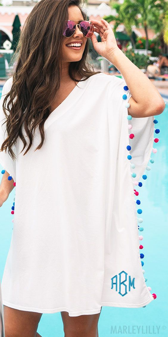 ab53068a58 Best Selling Monogrammed Pom Pom Cover Ups from Marleylilly.com ...